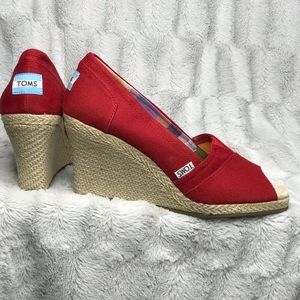 TOMS Red Canvas Peep Toe Espadrille Wedges